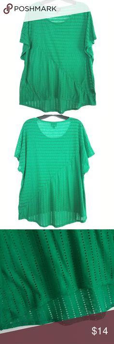 "Mossimo XXL Green Perforated Top This Mossimo XXL Green Perforated Top is in great used condition. Bust measures 23"" across laying flat measured from pit to pit so 46"" around unstretched. 24.5"" long in Front, 27"" long in back. 65% polyester, 35% rayon. ::: Bundle and save! ::: No trades. Mossimo Supply Co Tops"