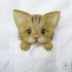 Купить Кот. Брошь на карман. - бежевый, кот, котик, котенок, коты, кот в подарок, брошь