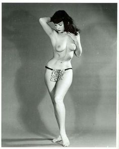Bettie Page models the latest loincloth...