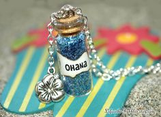 OHANA Necklace with a Flower Charm Lilo and by LifeistheBubbles