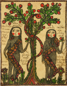 Read Article: Drawn With Spirit: Pennsylvania German Fraktur from the Joan and Victor Johnson Collection on Incollect. German Folk, Art Brut, Pennsylvania Dutch, Adam And Eve, Naive Art, Renaissance, Ancient Art, Retro, Traditional Art