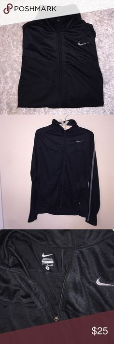 Men's Nike Zip Up Size S, in excellent condition! Al black with a grey striped down arm. Feel free to ask any questions! Nike Jackets & Coats