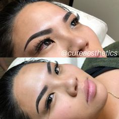 Ombré powder brows by Mircoblading Eyebrows, Eyebrows Goals, Arched Eyebrows, Permanent Makeup Eyebrows, Eyebrow Makeup, How To Do Brows, Eyebrow Shading, Instagram Brows, Straight Brows