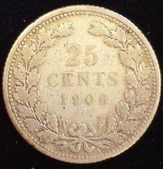 Netherlands 1906 Silver 25 Cents Pre world war 1 coin Europe