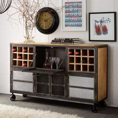 Home bar? How you may be thinking! But not with the magnificent Home Bar/Sideboard! Vintage Industrial Furniture, Solid Wood Furniture, Cabinet Furniture, Metal Furniture, Furniture Decor, Kitchen Furniture, Wood Bar Cabinet, Tv Cabinet Design, Sideboard Cabinet