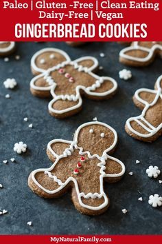The Best Ever Paleo Gingerbread Cookies Recipe - My Natural Family Paleo Gingerbread Cookies {Paleo, Gluten Free, Clean Eating, Dairy Free, Vegan} Paleo Cookie Recipe, Ginger Bread Cookies Recipe, Cookie Recipes, Paleo Recipes, Paleo Cookies, Xmas Recipes, Baking Cookies, Flour Recipes, Easter Recipes