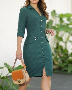 V-Neck Grid Print Single Button Blazer Midi Working Dress - Moda casual - Dress Casual Work Dresses, Work Dresses For Women, Clothes For Women, Work Dresses With Sleeves, Trend Fashion, Work Fashion, Womens Fashion, Midi Dress Work, Blazer Fashion