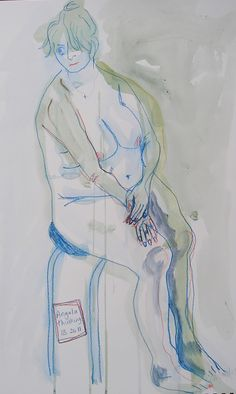 Thinking Figure , watercolour and ink,  Lesley Birch -- head and hands are too small, but I still like it!