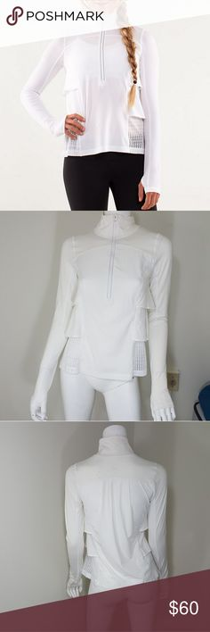 """Lululemon White Sun Runner Hybrid Pullover 4 Very light weight, white, vented panels pullover. Thumbholes at the bottom. Very feminine! Preloved, missing rip tag. No flaws. Women's size 4.  Approximate Measurements Laid Flat- Pit to pit- 18"""" Length- 24""""  #1353 lululemon athletica Tops"""
