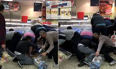 Shocking moment Tesco shoppers wrestled over cut-price food