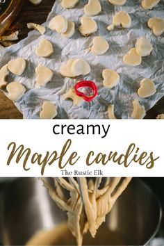 This easy maple candy recipe is a great way to use up pure maple syrup and a few other simple ingredients to make homemade, soft candies that everyone will love in less than 30 minutes. Maple Sugar Candy Recipe, Maple Dessert Recipes, Easy Candy Recipes, Maple Syrup Recipes, Sweet Recipes, Holiday Treats, Christmas Treats, Christmas Baking, Thanksgiving Recipes