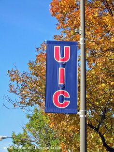University of Illinois--UIC--street banner, along the Chicago Marathon route