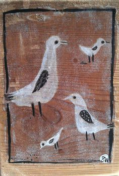 birds print;  a first experiment in transfering painting to wood with gel medium by oswald flump,