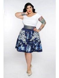 Pinup Girl Clothing- Gypsy Skirt in Geisha Print- Plus Size Plus Size Skirts, Plus Size Outfits, Full Skirts, Curvy Girl Fashion, Plus Size Fashion, Moda Rockabilly, Mode Pin Up, Xl Mode, Estilo Pin Up