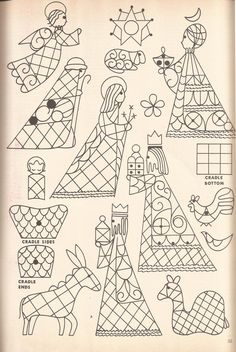 vintage christmas, patterns, crech pattern, craft idea, embroideri
