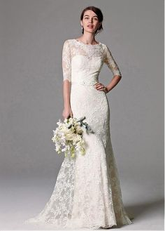 Elegant Lace Bateau Neckline Sheath Wedding Dresses
