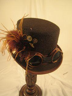 STEAMPUNK TOP HATS, Womens Top Hats, Riding Hats, Brown, Felt, Ostrich, Goggles, Clock Parts