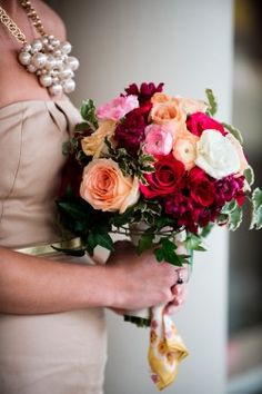 If I go with the champagne dress, i love this color pallete of peaches and pinks!