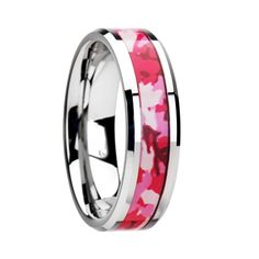 >> Click to Buy << SHARDON Tungsten Wedding Ring with Pink and White Camouflage Inlay - 6mm & 8mm #Affiliate