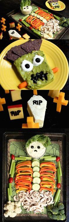Halloween Appetizer Trio: Skeleton Veggie Tray, Frankenguac, and Brie Coffin Graveyard