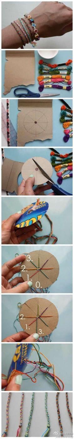 『教程』,六股圓編手鍊 easy kumihimo with handmade cardboard template - good pictures