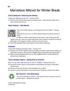 Marvelous Mitzvot for Winter Break