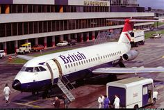 """British Airlines BAC One-Eleven G-BBMF """"County of Worcestershire"""" at Manchester-Ringway, (Photo: David Oates) British Airline, British Airways, British Airports, Jet Airlines, Cargo Airlines, Civil Aviation, Aviation Art, Manchester Airport, Aviation Industry"""