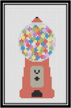 the split stitch: Retro Gumball Machine Cross Stitch Chart. Kawaii Cross Stitch, Cute Cross Stitch, Beaded Cross Stitch, Cross Stitch Kits, Cross Stitch Charts, Cross Stitch Designs, Cross Stitch Embroidery, Embroidery Patterns, Cross Stitch Patterns
