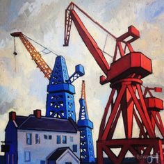 The Last Cranes of Wallsend signed limited edition print by Jim Edwards Detective, Blaydon Races, Crane Drawing, Norwich School, The Last Ship, Northern Exposure, Building Painting, Classroom Labels, North East England