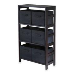 Capri 3-Tier Storage Shelf with 6 Foldable Baskets in Black - BedBathandBeyond.com