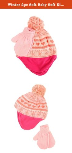 Winter 2pc Soft Baby Soft Kids 0-2 Lined Beanie Knit Earflap Hat Gloves Set Pink. New Winter Ultra Soft Warm Knit Cute Hearts and Snowflakes Microfleece lined Beanie Trapper Trooper Helmet Hat Cap Pom Pom Kids Baby Toddler Ages 0-2 months Beanie Skull Hat Ski Snow Cap Hat & Matching Mitten Glove Combo Set For ages 0-2 months super soft and super warm. Just like mom & dad cute matching beanie and glove set, soft warm microfleece lined ear flap trapper trooper beanie skull cap hat with pom…