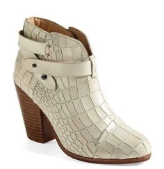 Rag & Bone Leather Croc White Boots