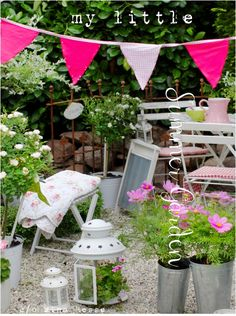 Bright bunting in the garden, x