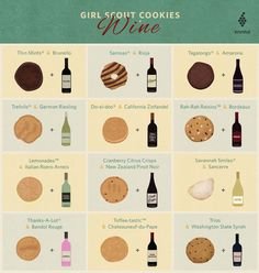 The Best Wines to Enjoy with Your Girl Scout Cookies - Food Daisy Girl Scouts, Girl Scout Troop, Brownie Girl Scouts, Scout Leader, Girl Scout Cookie Image, Girl Scout Cookie Sales, Selling Girl Scout Cookies, Wine Infographic, Girl Scout Cookies Flavors
