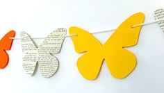Bunting butterfly bunting Spring paper garland by PeonyandThistle