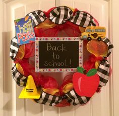 Deco Mesh Teacher Wreath for Back to school Gingham Bus Hall pass Apple Caution Work Zone #BayouBurlapandBling