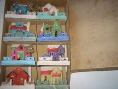 8 VINTAGE JAPAN PUTZ MICA GLITTER CARDBOARD VILLAGE HOUSES & SANTA- ORIGINAL BOX in Collectibles | eBay