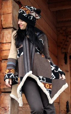 Fantasy patchwork recycled sweater jacket and hat door jamfashion, $99.00