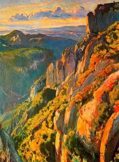 """Joaquim Mir Trinxet (1873-1940). """"Montserrat, 1931"""". Óleo sobre tela. 115 x 88 cm. Colección particular. Barcelona. España."""