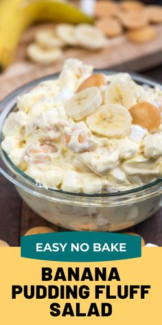 This isn't any old Banana Pudding recipe – it's a Banana Pudding Fluff Salad! This easy no-bake dessert salad is full of bananas and Nilla Wafers and is the perfect alternative to traditional banana pudding. # no bake Desserts Banana Pudding Fluff Salad Pudding Desserts, Fluff Desserts, Easy No Bake Desserts, Dessert Salads, Fruit Salad Recipes, Dessert Recipes, Creamy Fruit Salads, Jello Salads, Cake Recipes