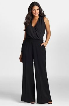 Plus Size Wide Leg Surplice Jumpsuit
