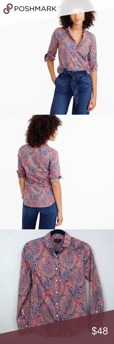 J. Crew Club Collar Perfect Shirt Liberty Art Top J. Crew Club Collar Perfect Shirt Liberty Art Top  - Liberty Art Fabrics for J. Crew - Perfect shirt featuring precisely placed darts for a slimming, waist-defining fit  - Liberty Art Fabrics, the British print house that's been known for its mood-lifting florals and paisleys since 1875 - Cotton - Club collar / Peter Pan collar  - Felix & Isabella print - Size 0  - Long roll-up sleeves - Functional buttons at cuffs - Button placket - Rare…