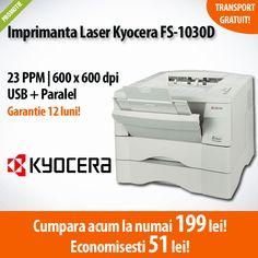 Nou in oferta ExpertCompany! Imprimanta laser Kyocera FS-1030D, la numai 199 lei! Comanda acum si economisesti 51 de lei!