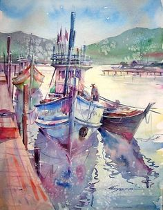 Thai landscape watercolor