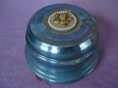 Vintage Powder Puff Music Box Blue Danube by SilverDoveCompany, $24.00