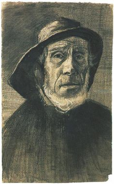 Head of a Fisherman with a Fringe of Beard and a Sou'wester by Vincent van Gogh