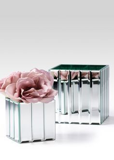 Mirror, mirror, on the wall... A unique Mirror Strips Cube Glass Vase for wedding, event, and party floral centerpieces.