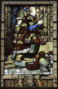 Analogie: Anne de Montmorency, chapelle d'Acceul- ECOUEN, CHAPELLE, VERRIERES, ENFANTS DU CONNETABLE, 7: La restitution numérique de la chapelle a choisi de remettre en place des vitraux du connétable et de Madeleine de Savoie proches en iconographie et en date. Ces vitraux proviennent de l'église St-Acceul, reconstruite par Anne de Montmorency à partir de 1536.