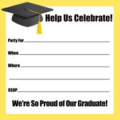Printable Yellow Border Graduation Party Invitations