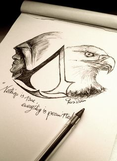 Fantastic Drawing of Assassin's Creed Assassins Creed Dibujos, Tatouage Assassins Creed, Arte Assassins Creed, Assassins Creed Tattoo, Assassins Creed Origins, Desenho Do Assassin's Creed, Asesins Creed, Creation Art, Polychromos